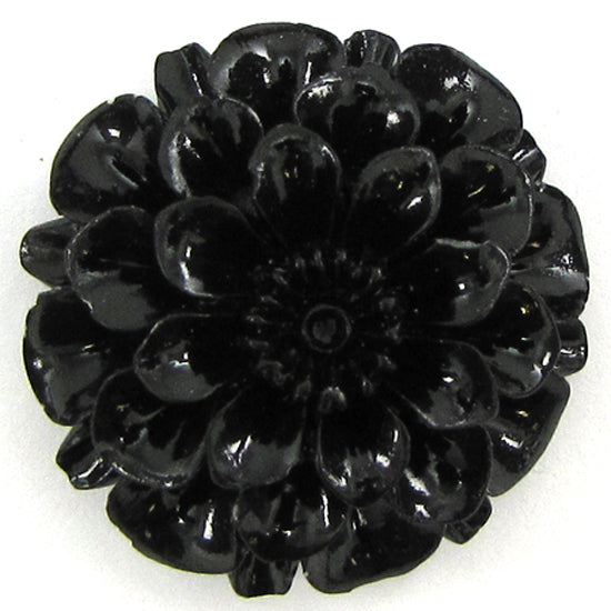 2 pieces 30mm synthetic black coral carved chrysanthemum flower pendant bead