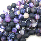 12mm matte purple stripe agate round beads 15.5