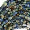 6mm - 8mm natural blue green azurite pebble nugget beads 15.5