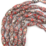 25mm red mosaic flower turquoise barrel beads 16