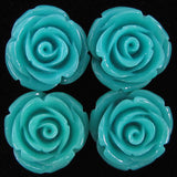 8 20mm synthetic coral carved rose flower pendant bead blue
