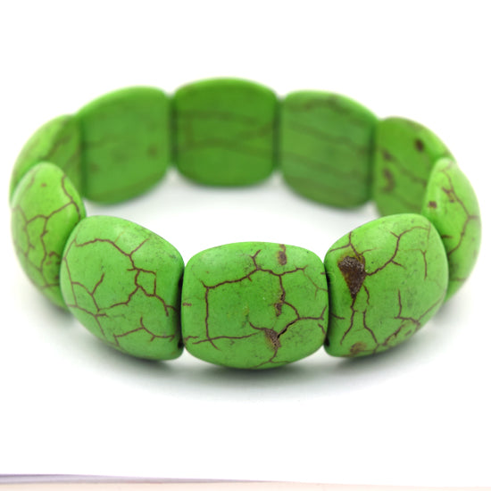21mm green turquoise stretch bracelet 8""