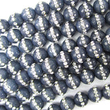 8mm faceted sapphire blue jade round beads inlaid with rhinestone 15