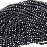 2mm faceted black spinel round beads 15.5