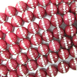 10mm faceted ruby red jade round beads inlaid with rhinestone 15