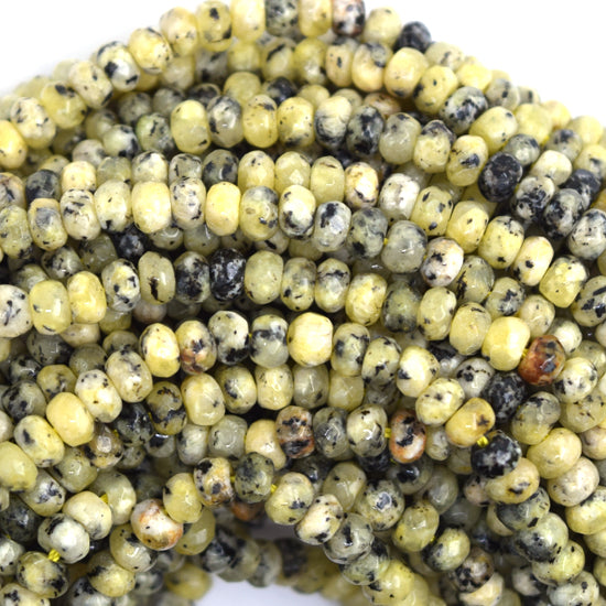 "4mm faceted yellow turquoise rondelle beads 15"" strand"