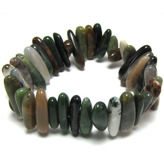 20mm indian agate stick stretch bracelet 8""