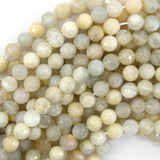 Natural Faceted Cream White Moonstone Round Beads 15.5