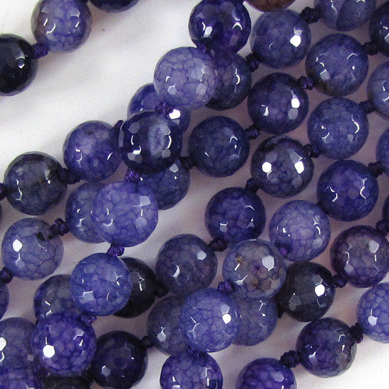 "12mm faceted purple crab agate round beads 7"" strand"