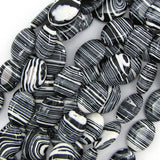 18mm black rainbow calsilica flat oval beads 16