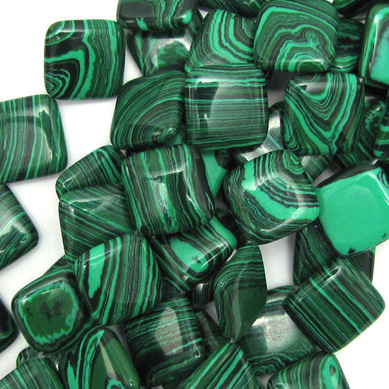 "18mm synthetic green malachite diamond beads 16"" strand"