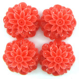 20mm synthetic pink coral carved chrysanthemum flower pendant bead 4pcs