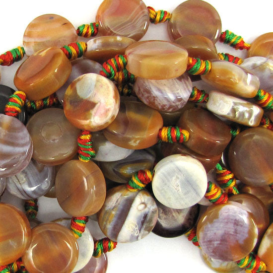 "15mm multicolor crab agate coin beads 15"" strand"