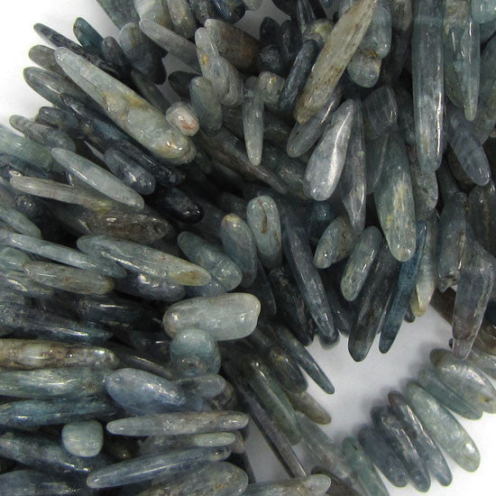"12-24mm blue kyanite stick beads 15"" strand"
