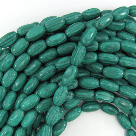 "7x14mm synthetic green malachite barrel beads 15"" strand"