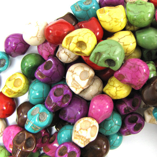 "10x12mm multicolor turquoise carved skull beads 16"" strand"