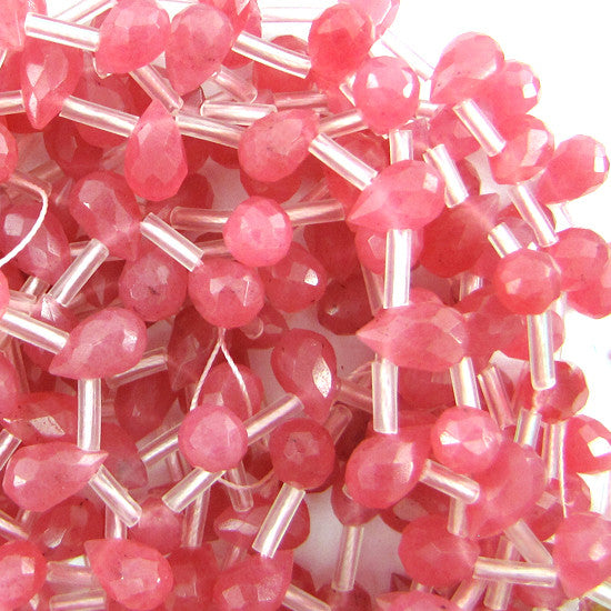 "5x8mm faceted pink jade teardrop beads 16"" strand"