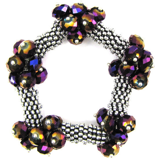 "Crystal silver plated daisy stretch bracelet 7"" purple1"
