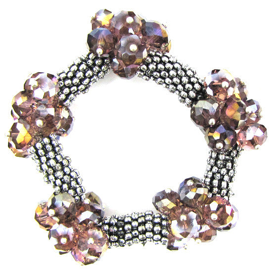 "Crystal silver plated daisy stretch bracelet 7"" purple"