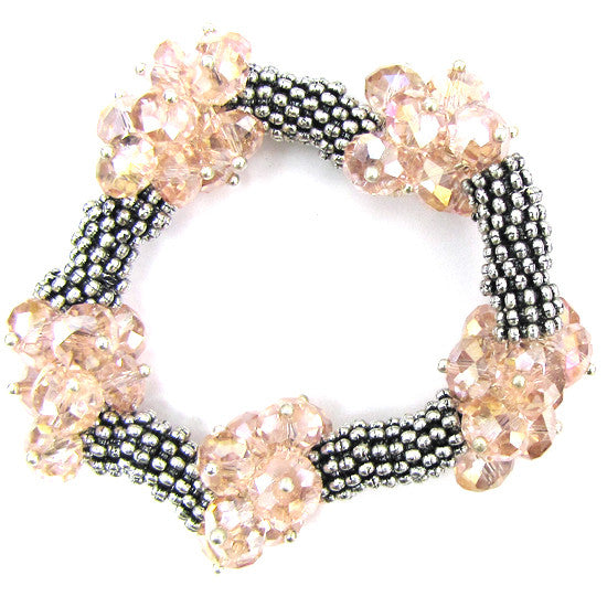 "Crystal silver plated daisy stretch bracelet 7"" pink"