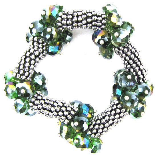 "Crystal silver plated daisy stretch bracelet 7"" green"