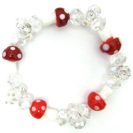 "Faceted crystal glass stretch bracelet 7"" red"