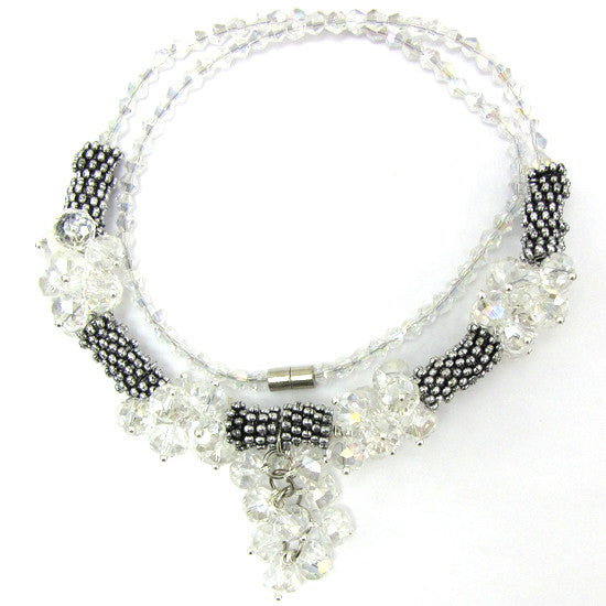 "Crystal silver plated daisy necklace 19"" crystal AB"