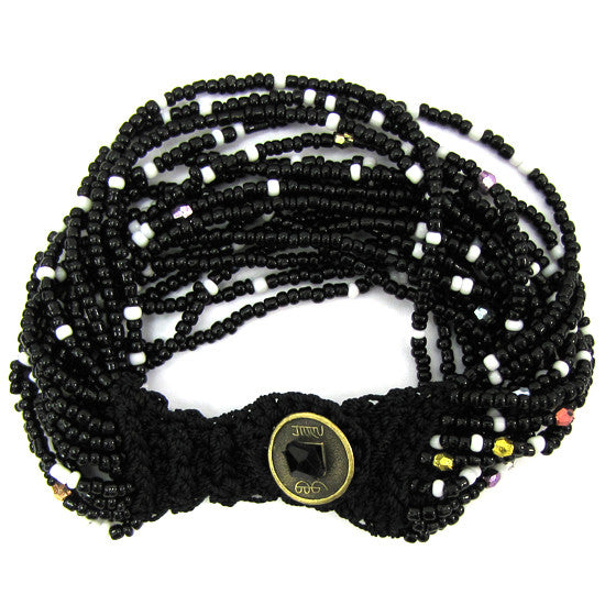 Black white glass seed bead crochet bracelet 7""