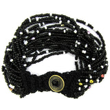Black white glass seed bead crochet bracelet 7