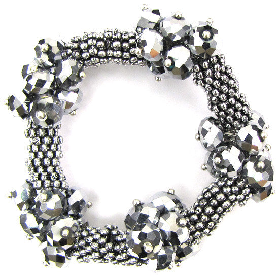 "Crystal silver plated daisy stretch bracelet 7"" silver"