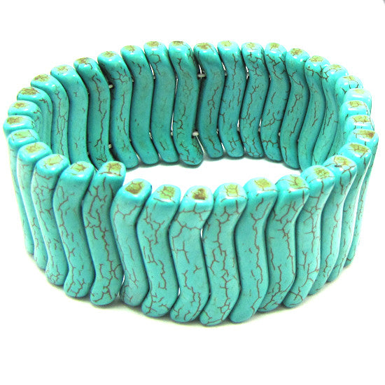 30mm blue turquoise stretch bracelet 8""