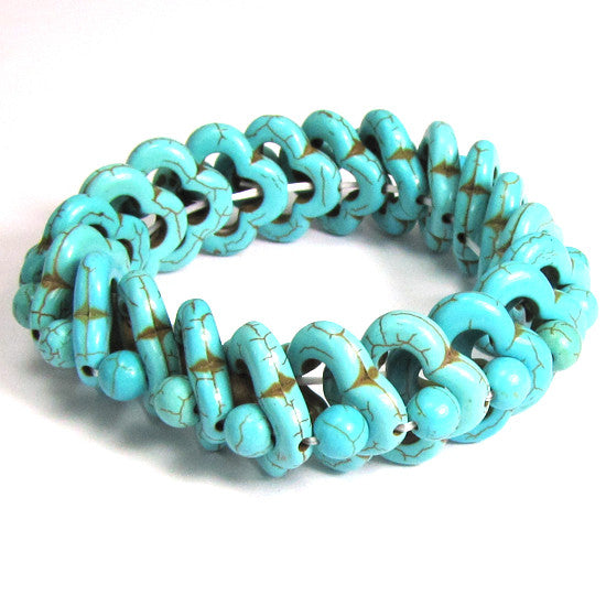 "20mm blue turquoise stretch bracelet 8"" S1"