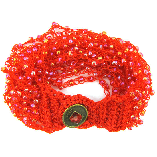 "Glass seed bead crochet bracelet 8"" rainbow red"