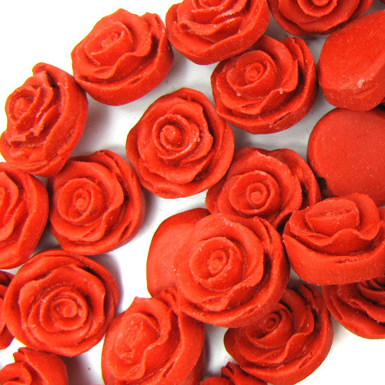 8x18mm red cinnabar carved rose flower beads 6pcs