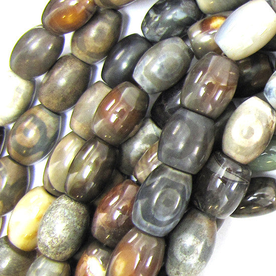 "14mm grey brown agate barrel beads 12"" strand"