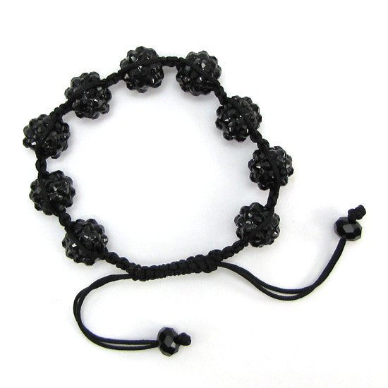12mm black acrylic ball marcrame adjustable bracelet