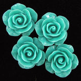 20mm synthetic coral carved rose flower pendant bead 8 pcs green