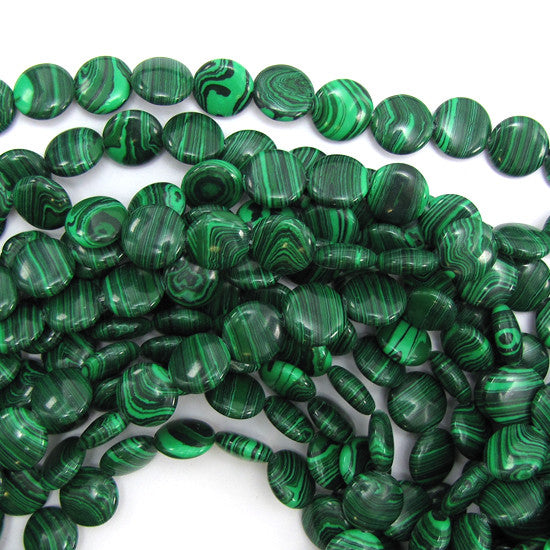 "12mm synthetic green malachite coin beads 16"" strand"
