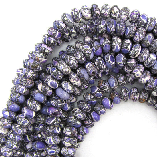 "10mm purple mosaic flower turquoise rondelle beads 16"" strand"