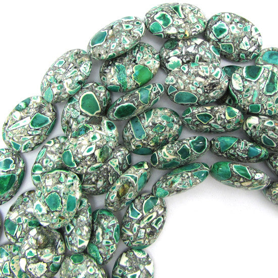 "25mm lt green mosaic flower turquoise flat oval beads 16"" strand"