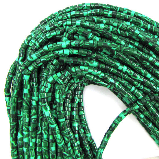 "4mm synthetic green malachite heishi beads 15.5"" strand"