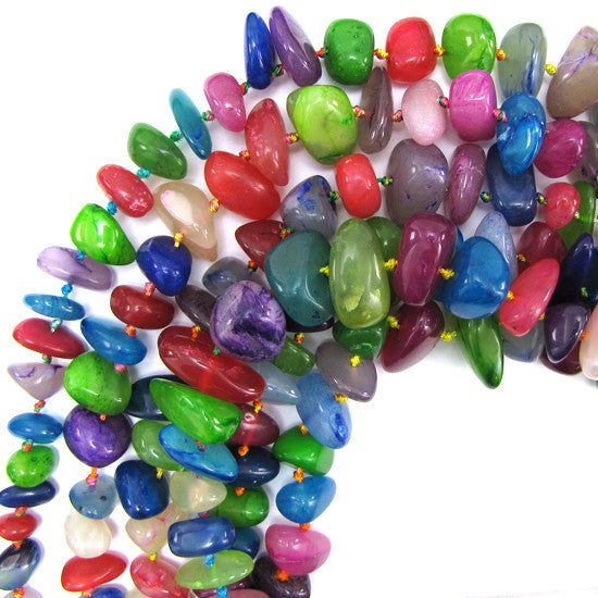 "12-22mm multicolor jade nugget beads 18"" strand stand"