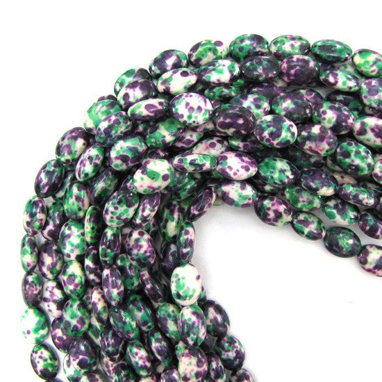 "14mm green purple jade flat oval beads 16"" strand"