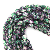 14mm green purple jade flat oval beads 16