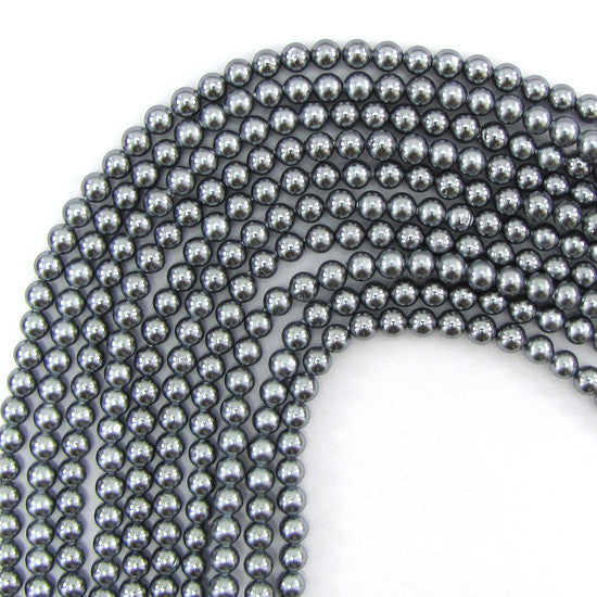 "4mm silver shell pearl round beads 16"" strand"