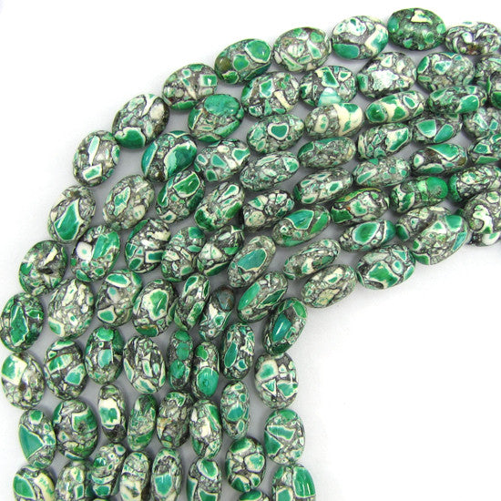 "14mm green mosaic flower turquoise flat oval beads 16"" strand"