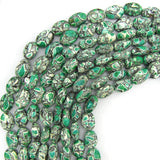 14mm green mosaic flower turquoise flat oval beads 16