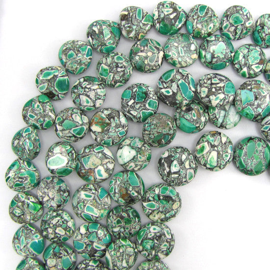 "16mm green mosaic flower turquoise coin beads 16"" strand"