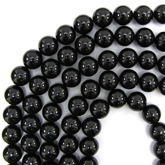 "14mm black shell pearl round beads 16"" strand"