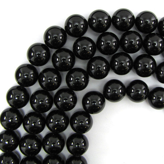 "16mm black shell pearl round beads 16"" strand"